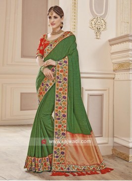 Green Sari with Designer Border