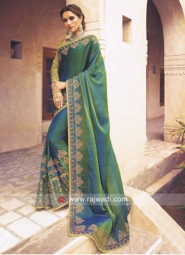 Green Satin Silk Sari with Blouse