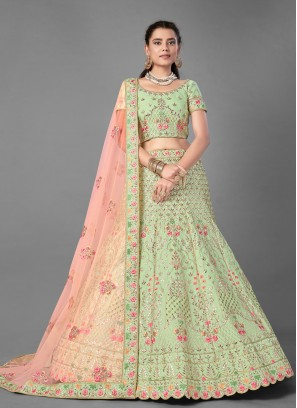Green Sequins Art Silk Designer Lehenga Choli