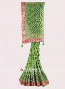 Green Shaded Banarasi Chiffon Saree