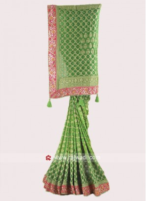 Green Shaded Banarasi Chiffon Saree