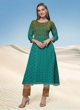 Green Shaded Bandhani Kurti