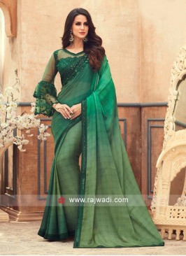 Green Shaded Chiffon Saree