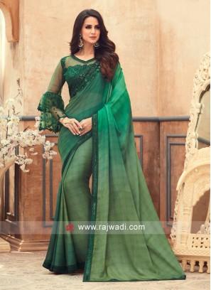 Green Shaded Chiffon Saree