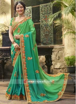 Green Shaded Designer Heavy Saree