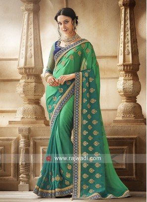 Green Shaded Designer Saree