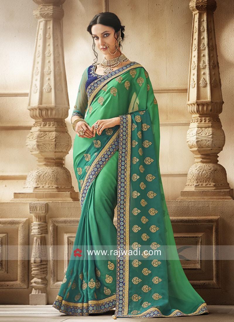 Green Shaded Designer Saree