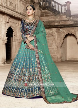 Green Shaded Embroidered Lehenga Set