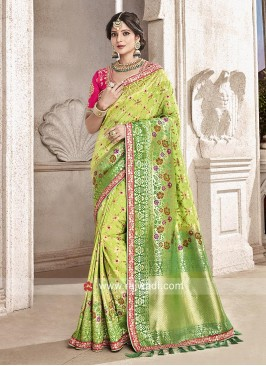 Green Shaded Embroidered Saree