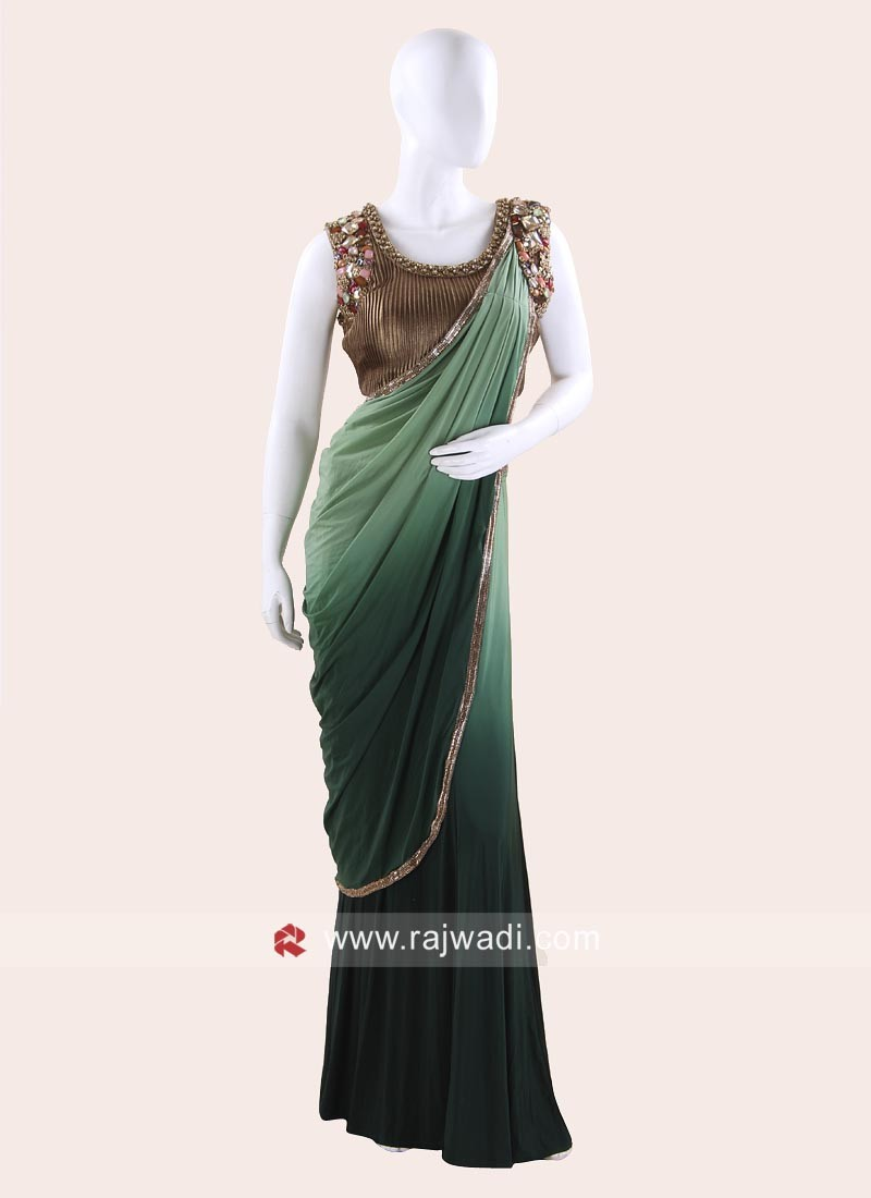 Green Shaded Lycra Choli Saree