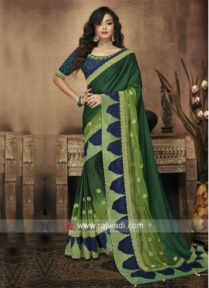 Green Shaded Saree with Blouse