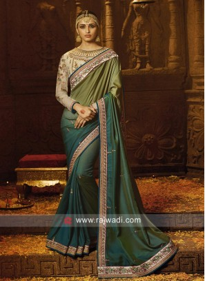 Green Shaded Saree with Border