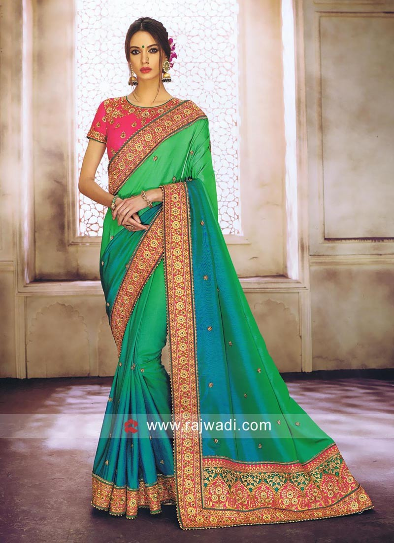 Green Shaded Saree with Designer Border