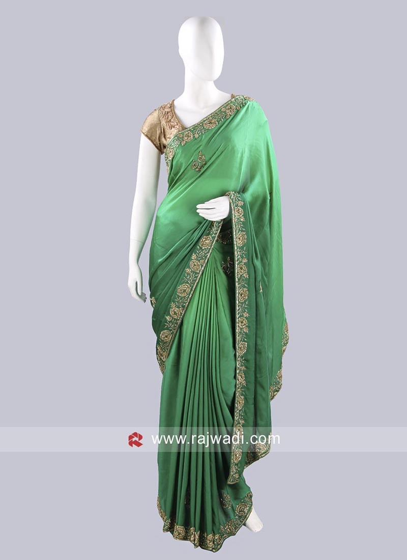 Green Shaded Sari with Blouse