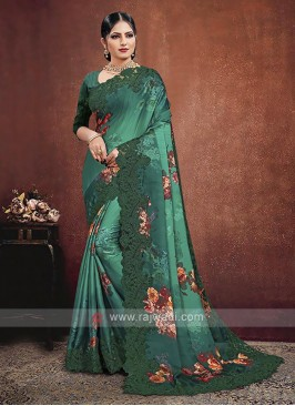 Green Shaded Satin Georgette Saree