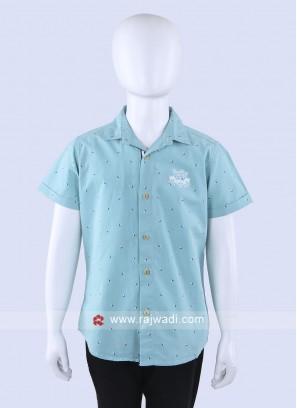 Sky Blue Shirt With White T-Shirt
