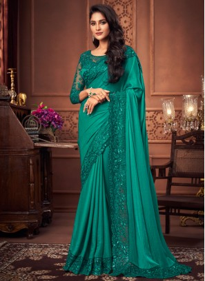 Green Silk Ceremonial Designer Saree