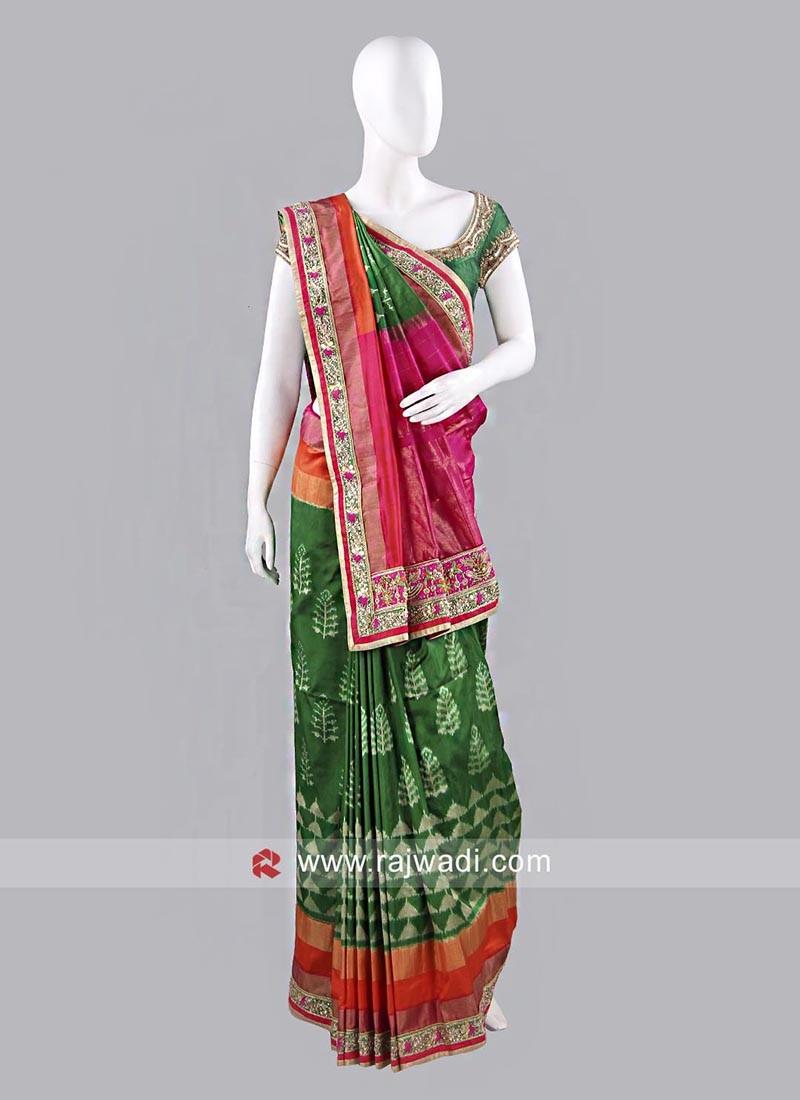 Green Silk Patola Sari