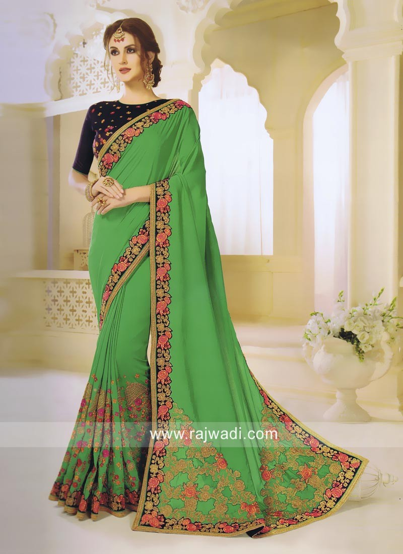 Green Stone Work Saree