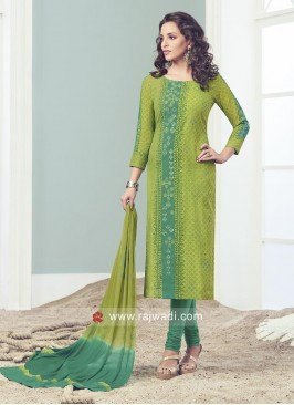 Green Straight Fit Salwar Suit
