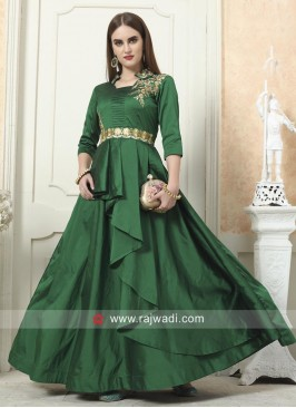 Green Taffeta Silk Layered Gown
