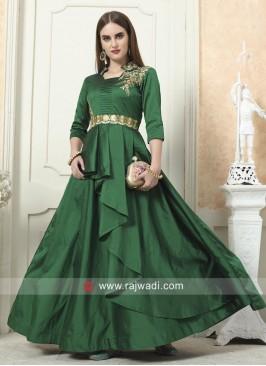 Green Taffeta Silk Layered Gown