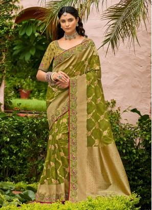 Green Tissue Weaving Traditional Designer Saree