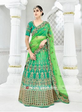 Green Tone Embroidered Lehenga Choli
