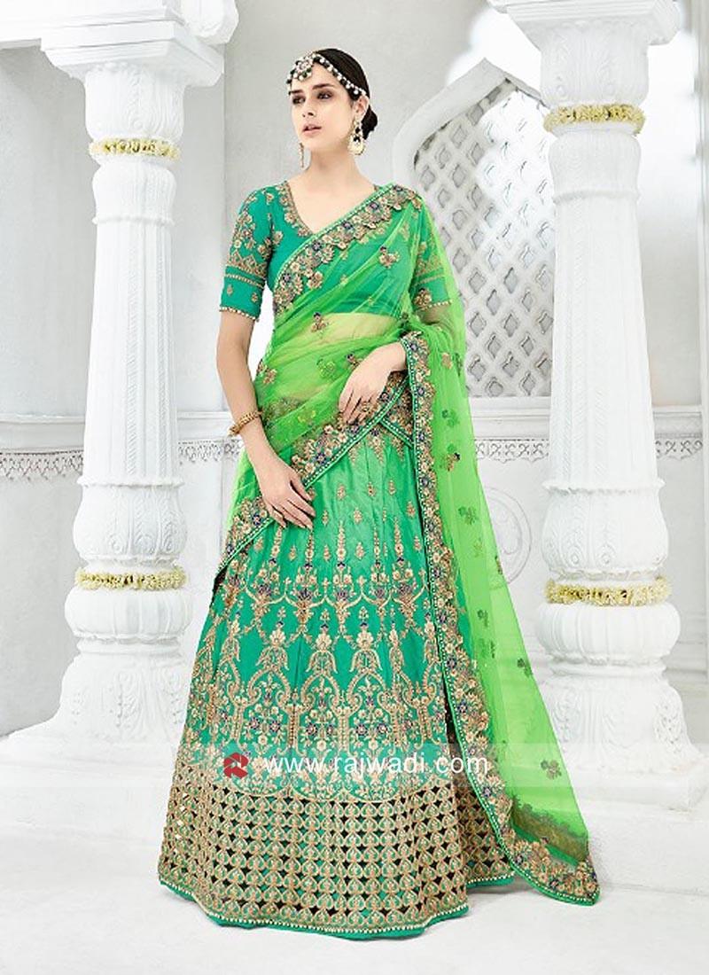 Green Tone Embroidered Lehenga Choli