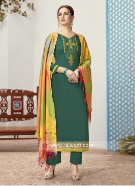 Green Trouser Suit with Multicolor Dupatta