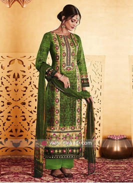 Green Unstitched Salwar Kameez