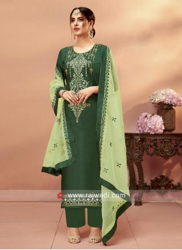 Green Uppada Silk Palazzo Suit