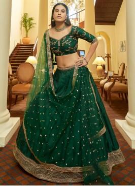 Green Wedding Art Silk Bollywood Lehenga Choli