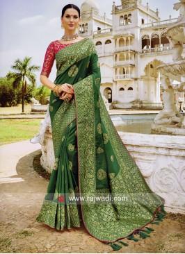 Green Wedding Banarasi Silk Saree
