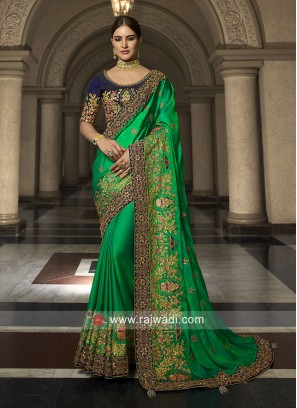Green Wedding Saree with Dark Blue Blouse