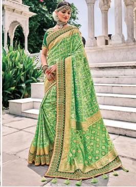 Green Wedding Silk Trendy Saree