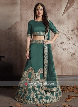 Green Wedding Taffeta Silk Lehenga Choli