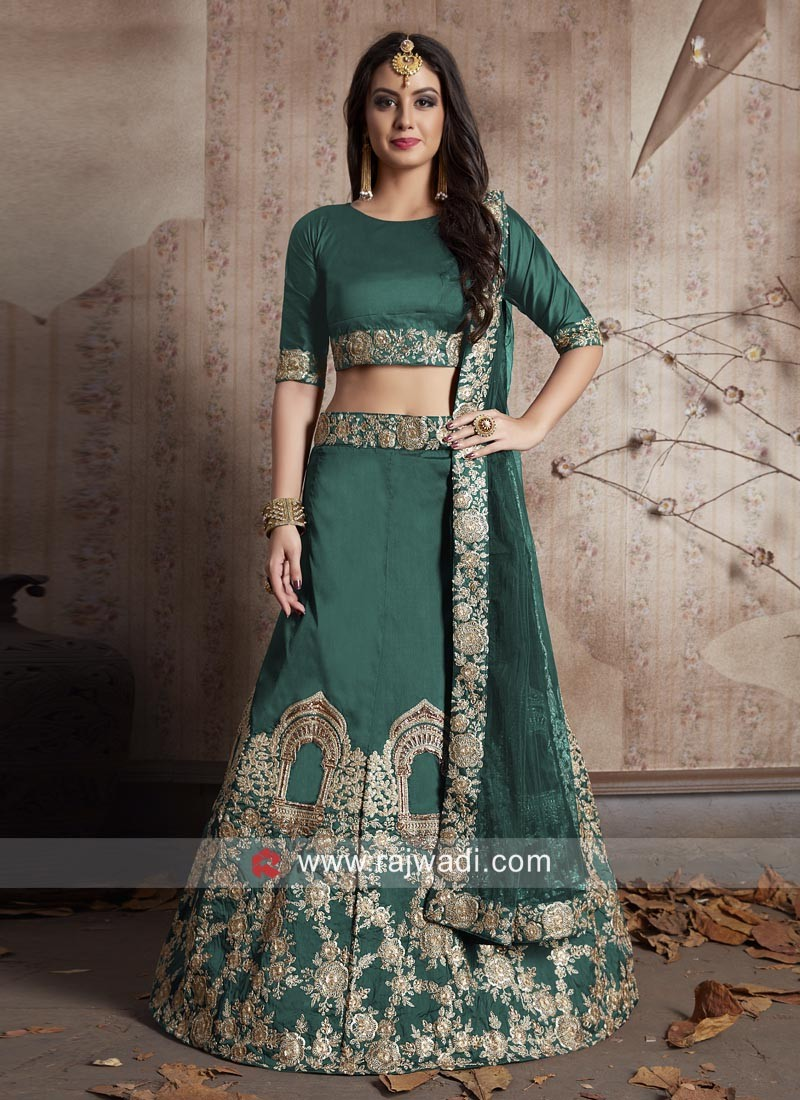 Green Wedding Taffeta Silk Lehenga Choli