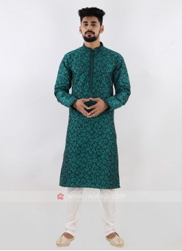 Green & White Kurta Pajama For Men