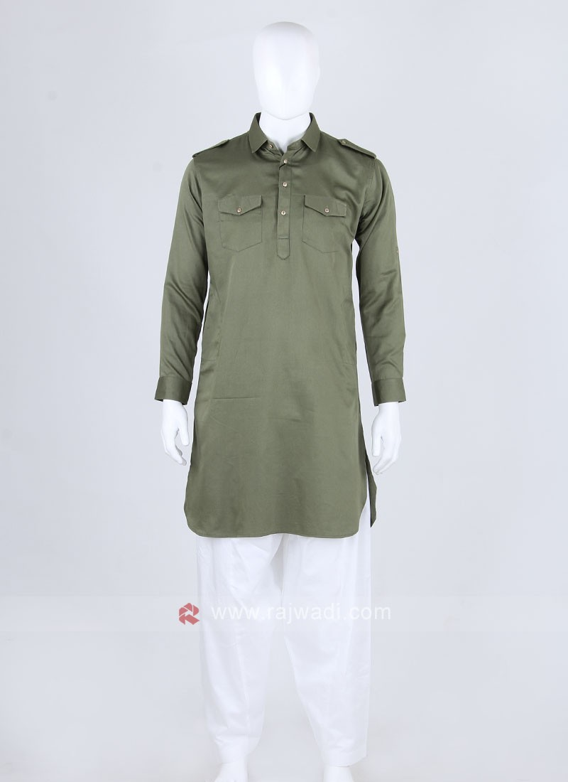 Green & White Solid Pathani Suit