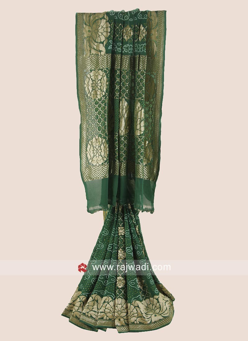 Green Woven Saree with Blouse