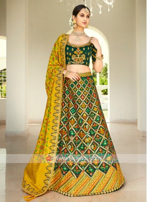 Green & Yellow Silk Lehenga Choli