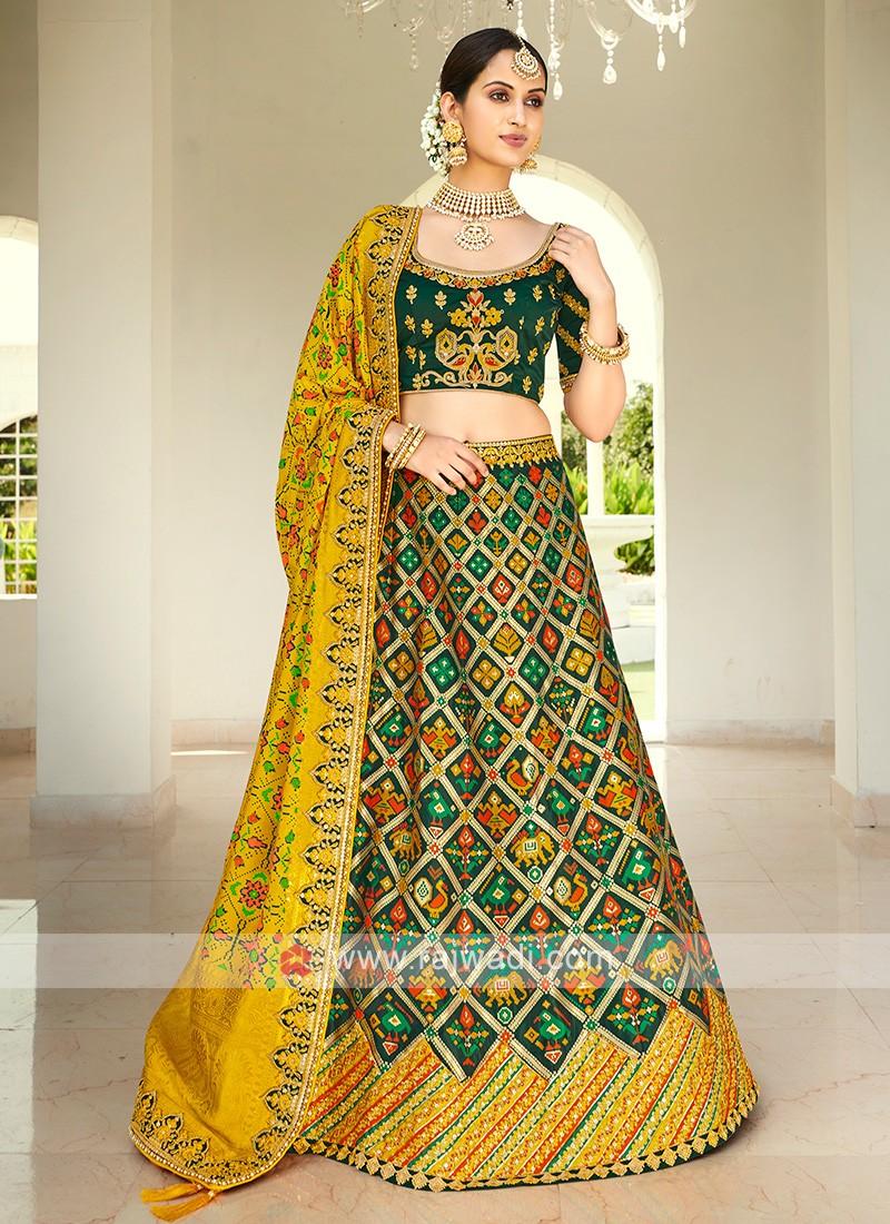 Green & Yellow Silk Lehenga Choli