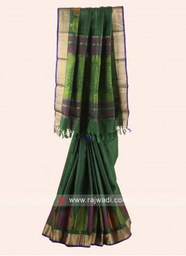 Green Zari and Resham Weaved Saree