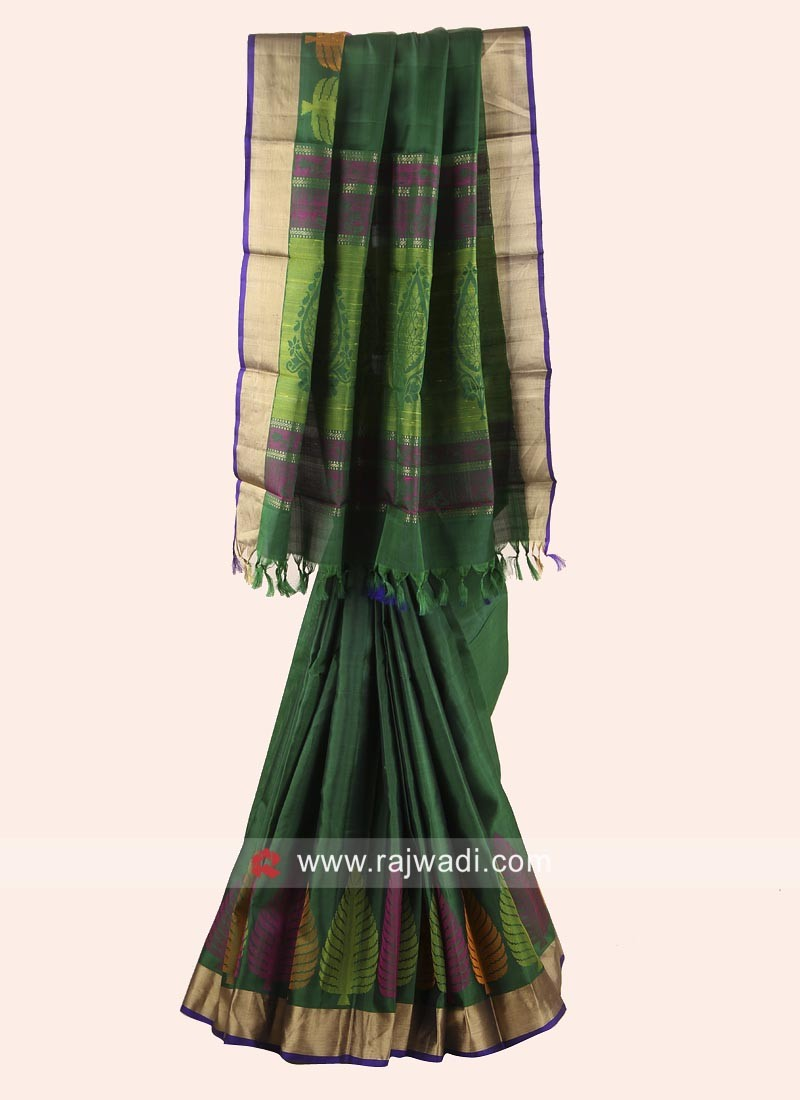 Green Zari and Resham Weaved Saree