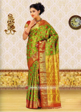 Green Zari Weaved Saree
