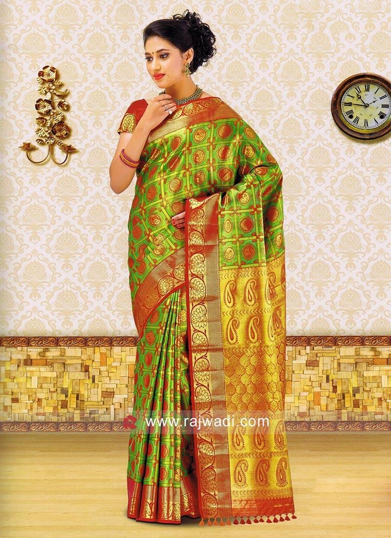 Green Zari Weaved Saree