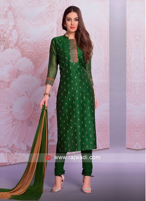 Green Zari Work Salwar Suit