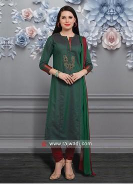 Green Zari Work Salwar Suit