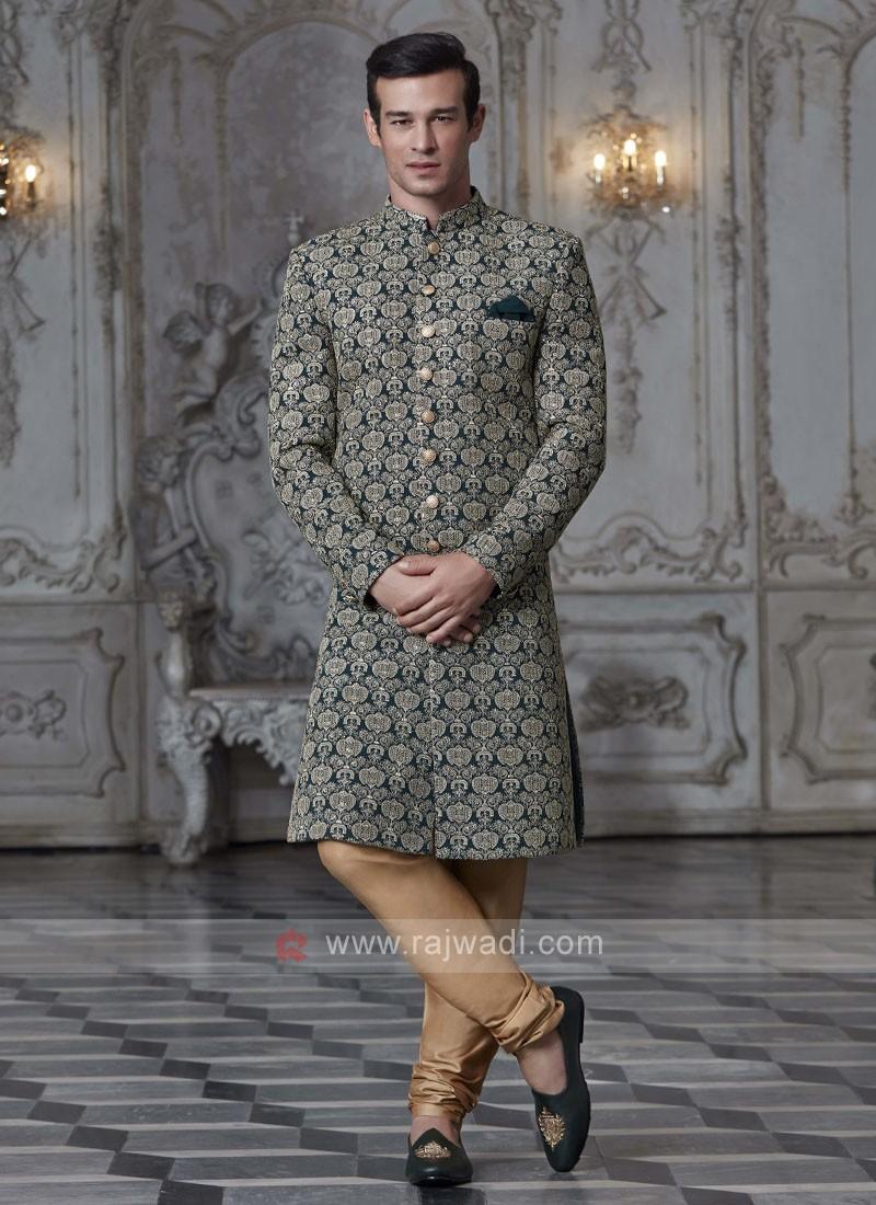 Green Zari work Sherwani
